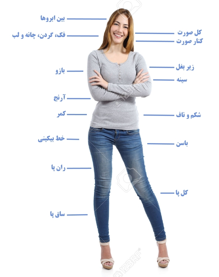 لیزر موهای زائد بخش های مختلف بدن زنان